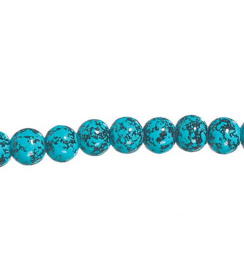 Darice 8mm Marble Glass Beads-7\u0022/Aqua