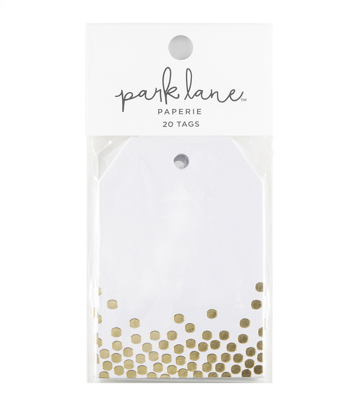 Park Lane 20 pk Tags-Gold Confetti