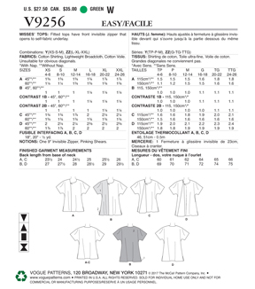 Vogue Pattern V9256 Misses\u0027 Tops with Invisible Zipper-Size 4-14