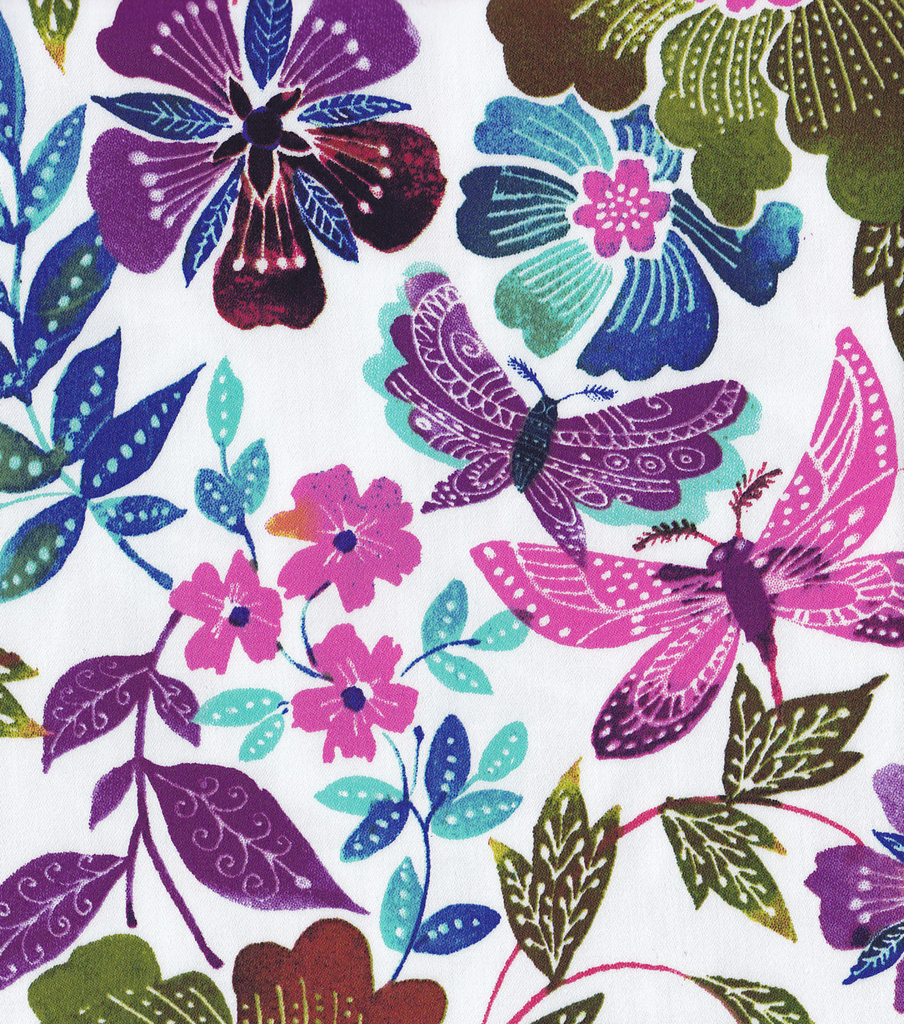 Sportswear Sateen Fabric-Butterfly Floral Purple Turquoise