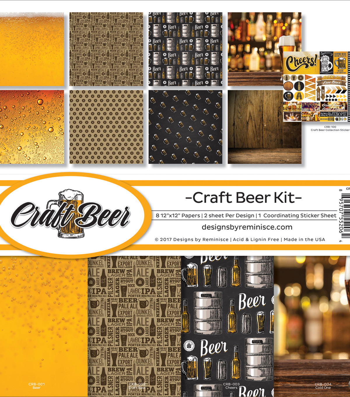 Reminisce Collection Kit 12\u0022X12\u0022-Craft Beer, 8 Papers & Stickers