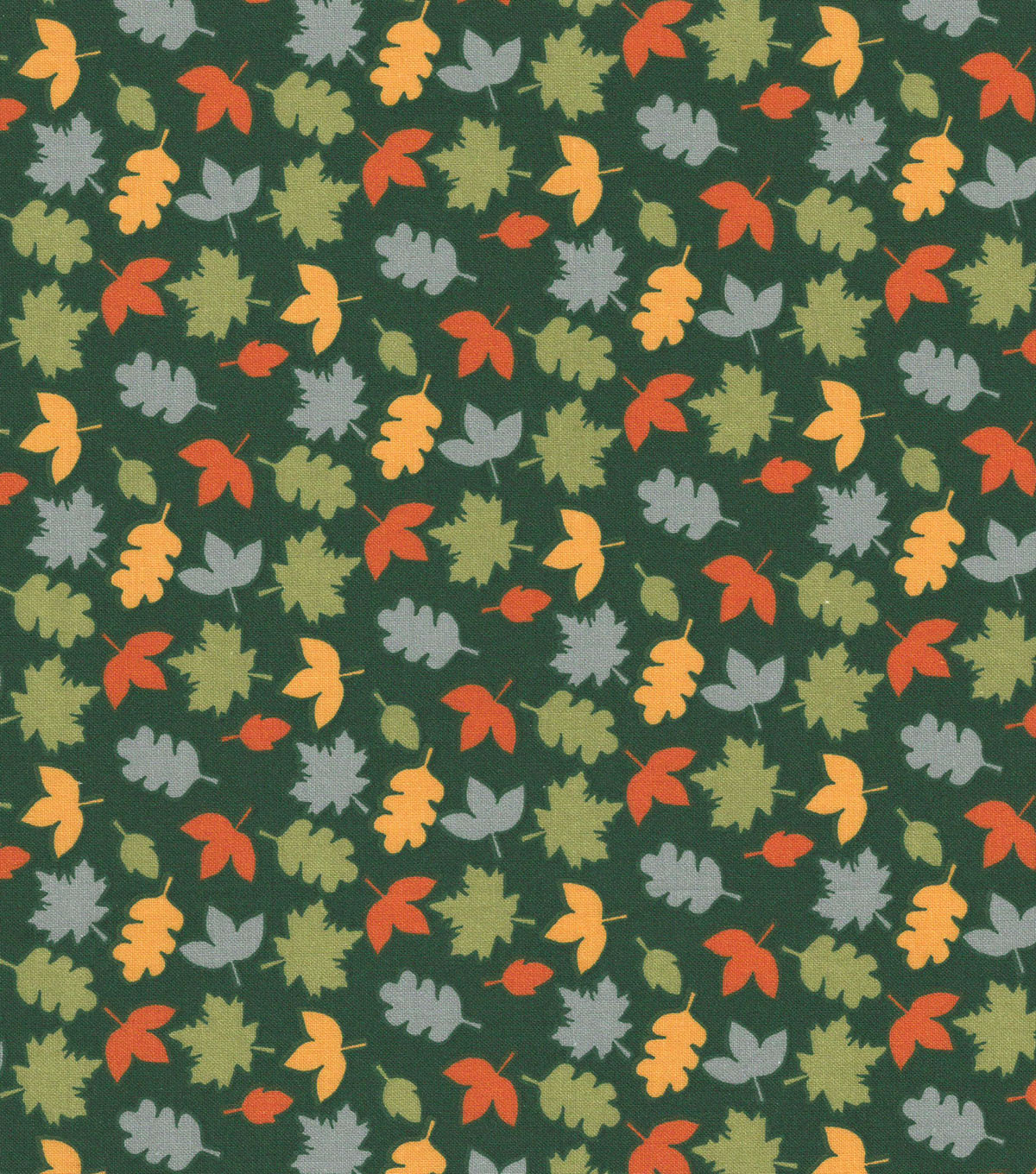 Quilter\u0027s Showcase Cotton Fabric -Multicolor Tossed Leaves on Hunter