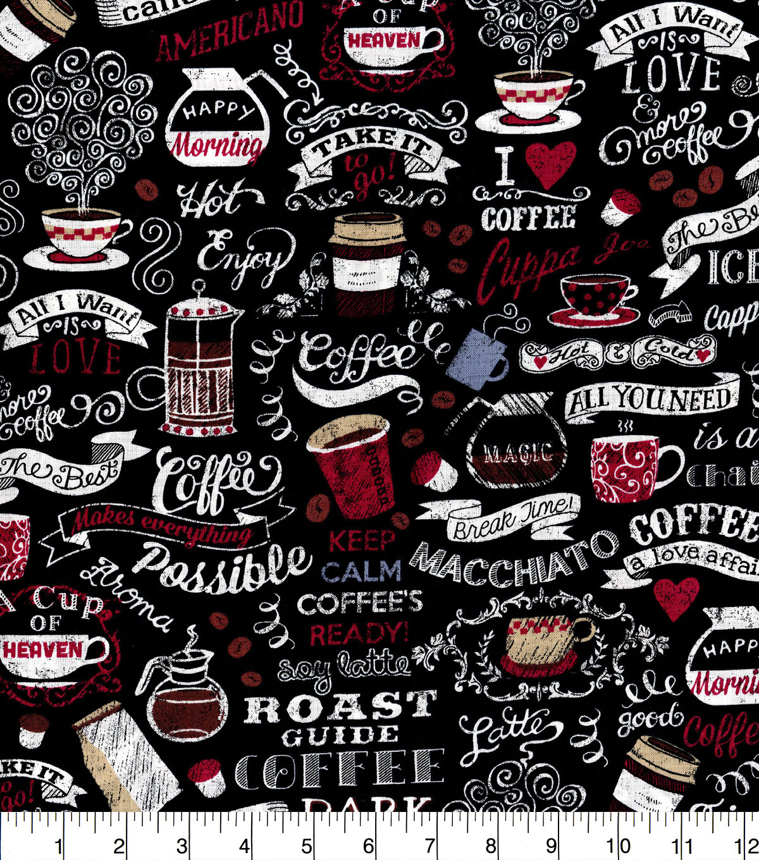c935c5eff5be Novelty Cotton Fabric-Coffee on Chalkboard