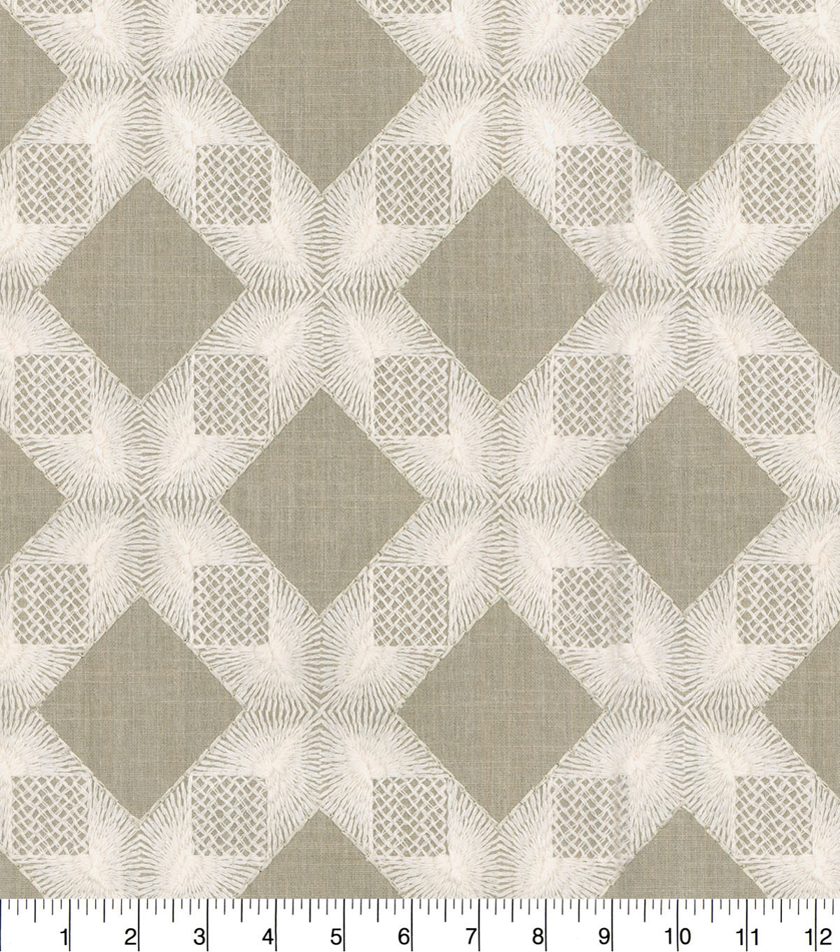 Waverly Upholstery Fabric 9\u0022x9\u0022 Swatch-Linear Lace Embroidered Flax