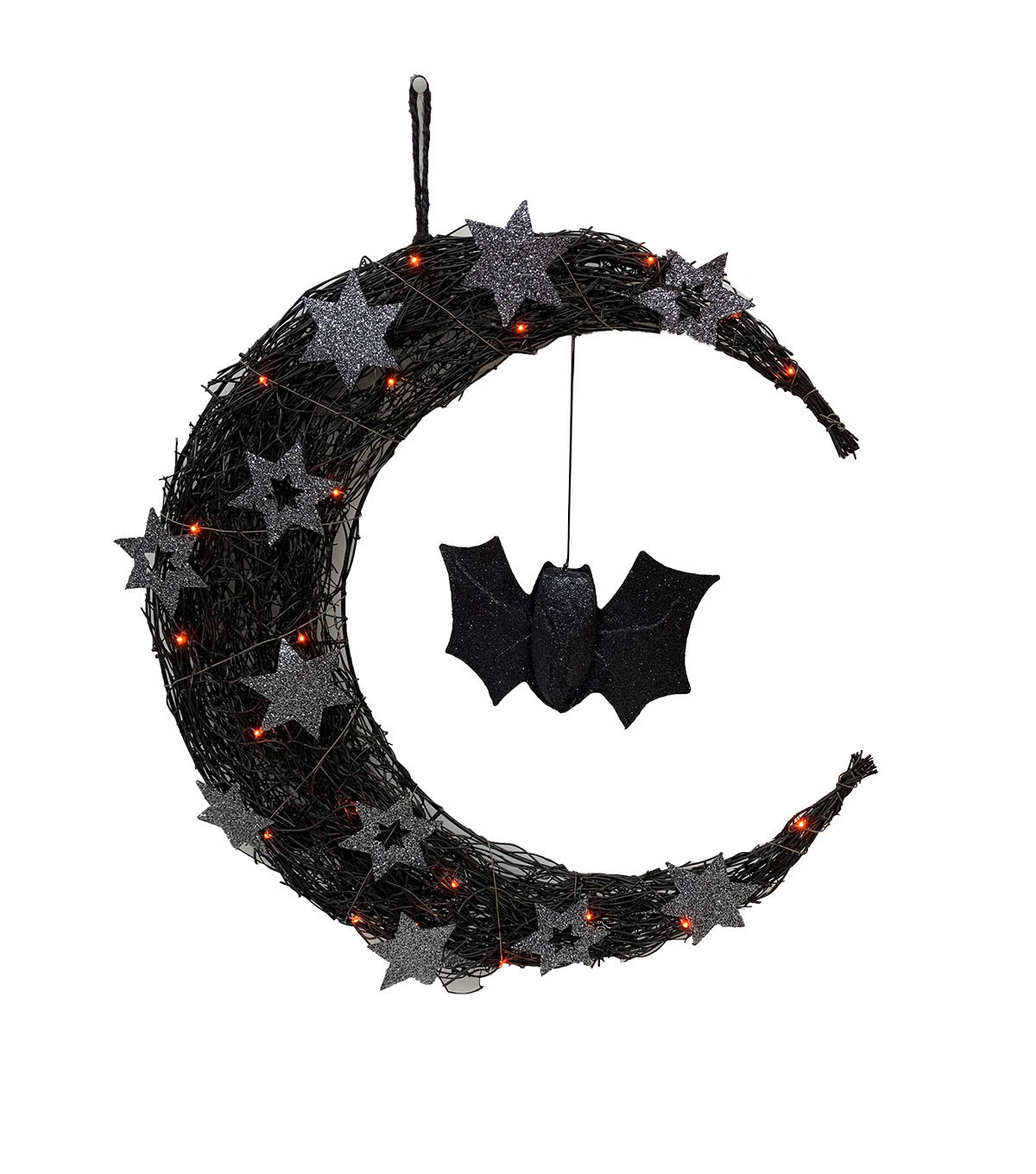Maker\u0027s Halloween LED Half Moon with Bat Wreath