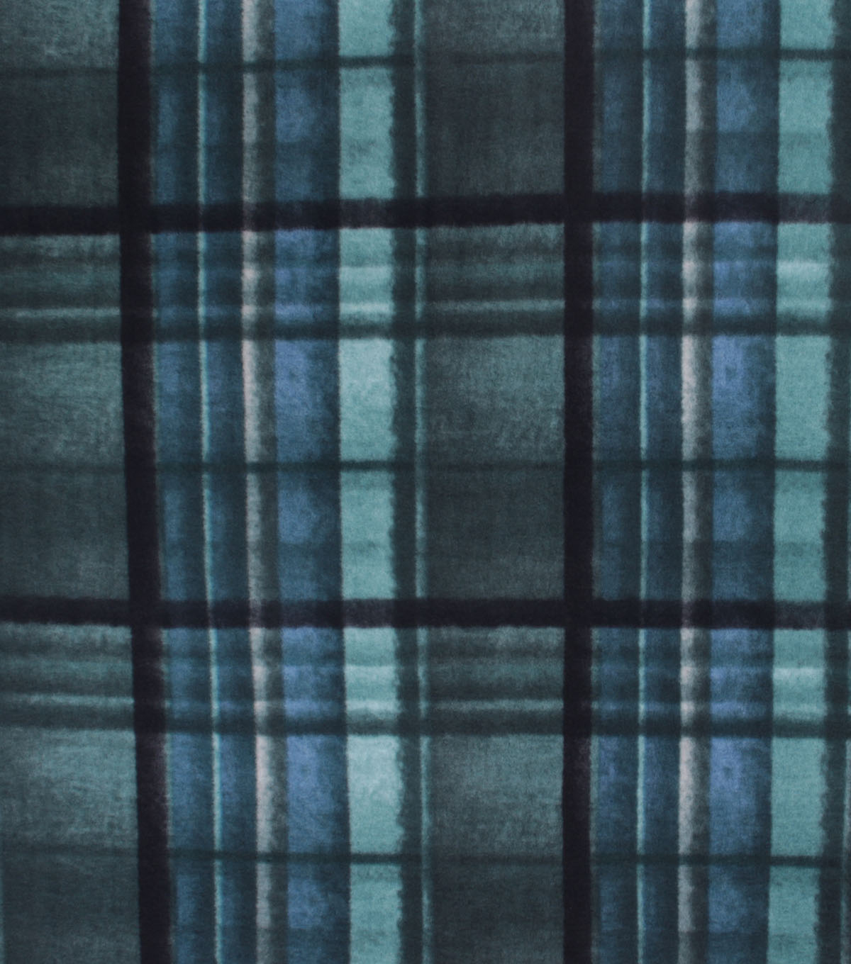 Anti-Pill Plush Fleece Fabric-Teal Navy Distressed Plaid