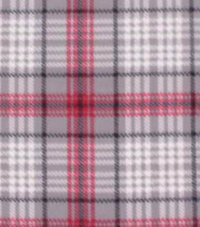 Blizzard Fleece Fabric-Madison Red & Gray Plaid
