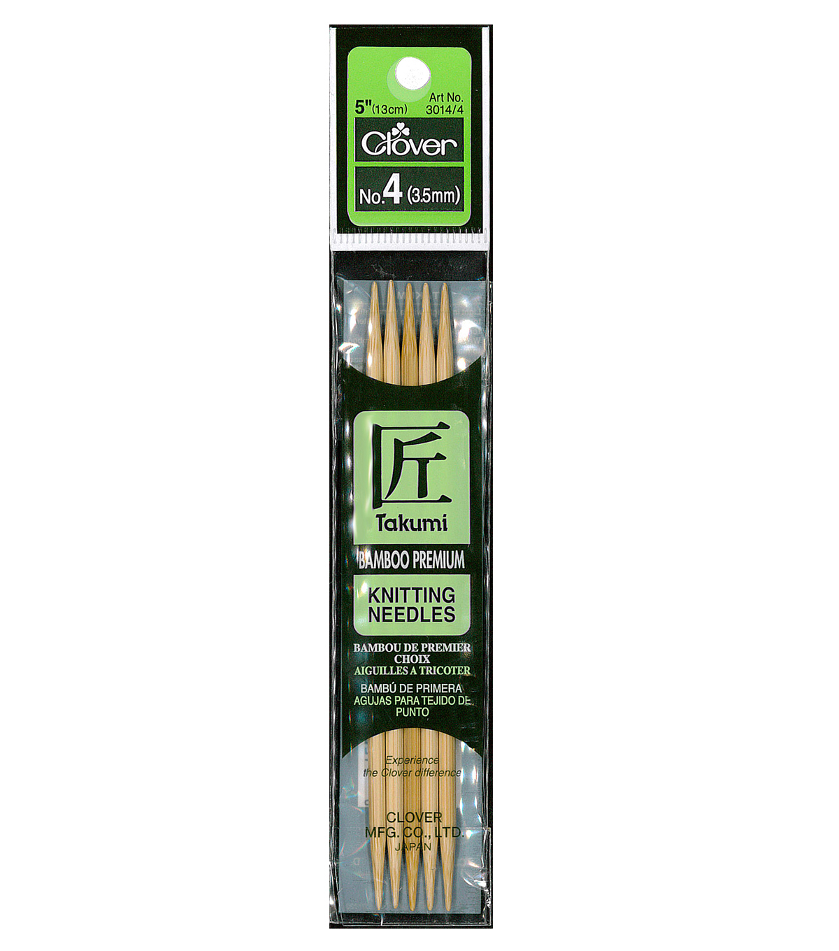 Takumi Bamboo Double Point Knitting Needles 5\u0022 5/Pkg-Size 4/3.5mm