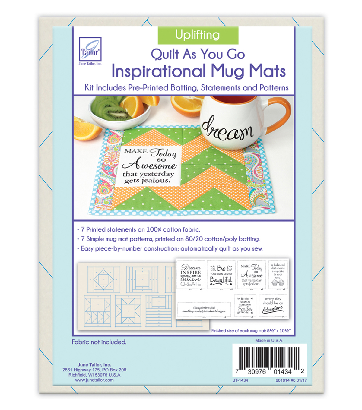 June Tailor Inspirational Mug Mats Uplifting Series
