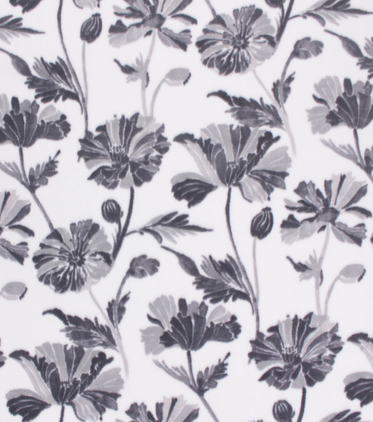 Anti-Pill Plush Fleece Fabric-Gray Floral on White