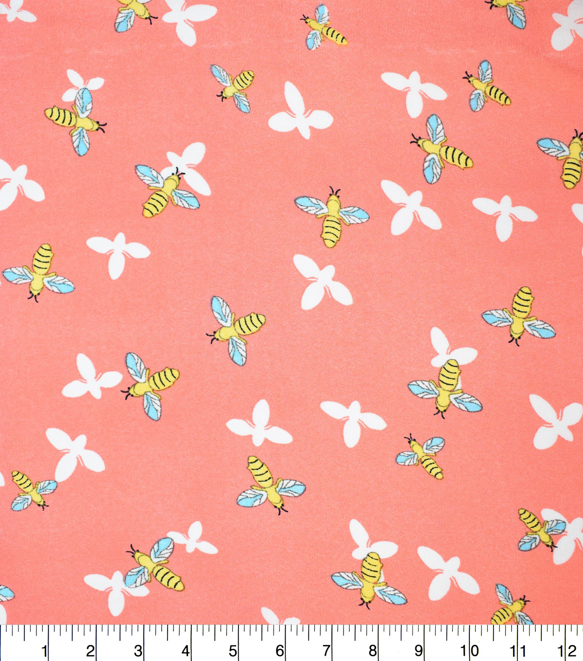 Fast Fashion Dobby Print Fabric-Coral Bees