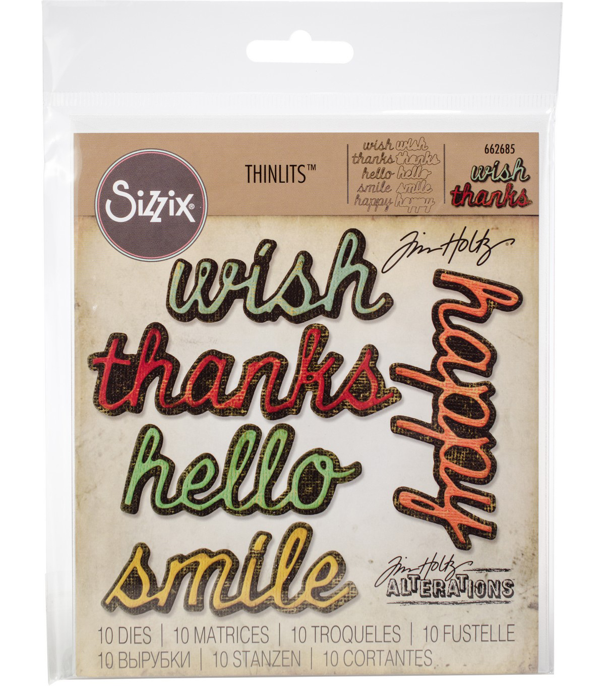 Sizzix Thinlits Dies By Tim Holtz -Shadow Script #2