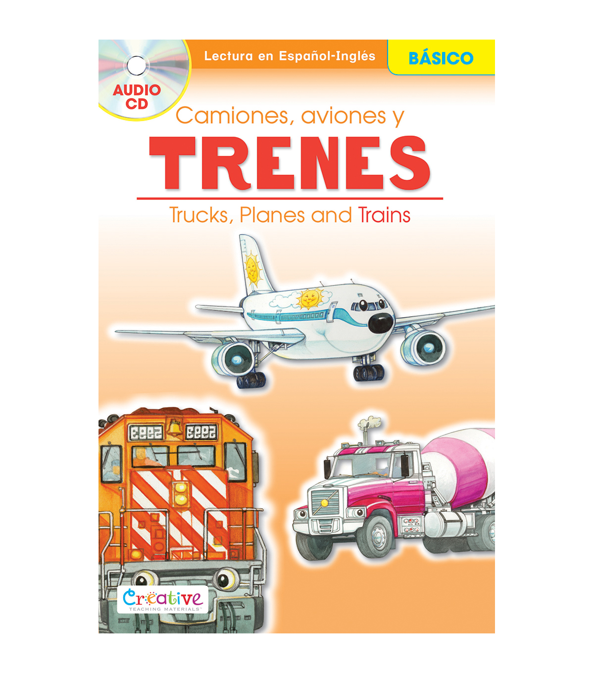 Pbs Publishing Spanish-English Book With CD-Trucks, Planes & Trains