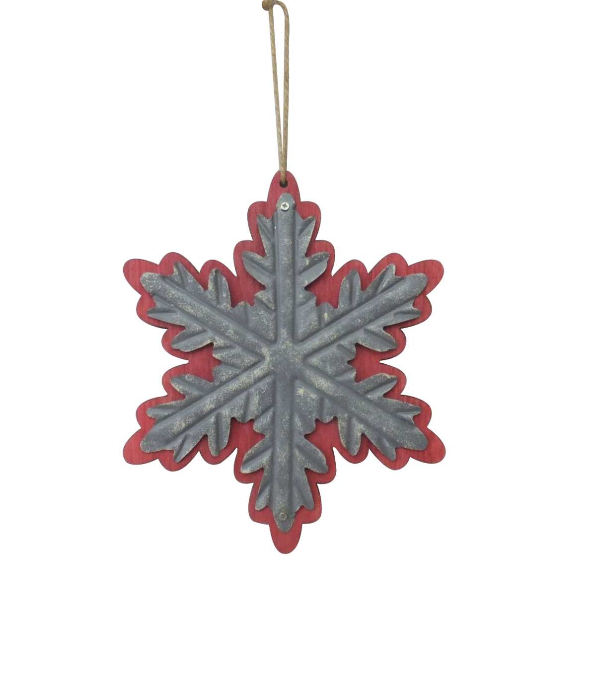 Maker\u0027s Holiday Woodland Lodge Galvanized Snowflake Ornament-Red