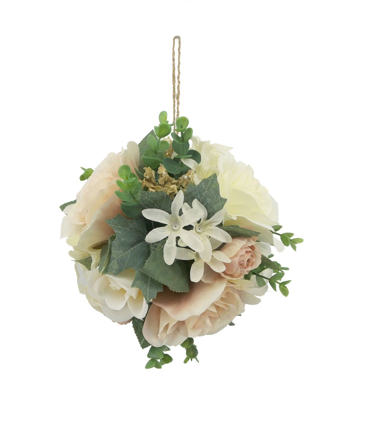 Blooming Autumn Large Mood Rose & Ranunculus Kissing Ball-Cream & Pink