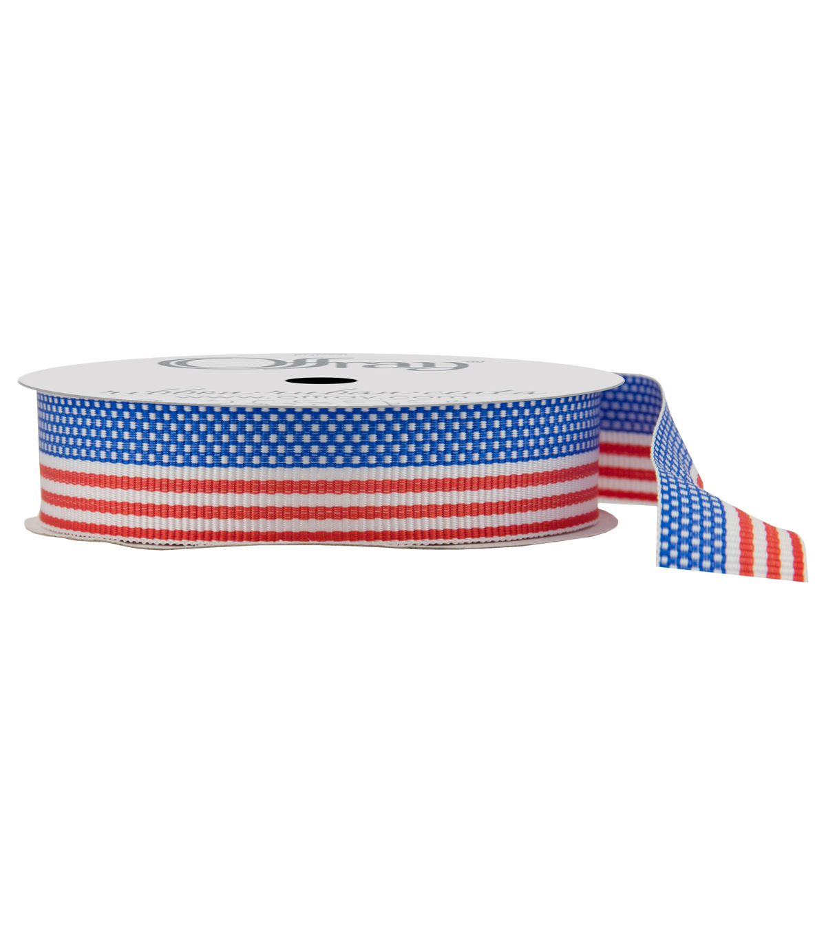 Offray 5/8\u0022x9\u0027 New America Woven Patriotic Ribbon-Red, White, and Blue