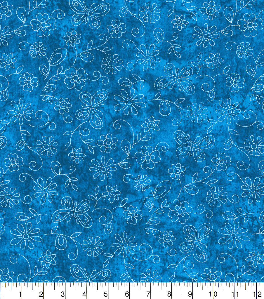Keepsake Calico Cotton Fabric-Sundrenched Flowers & Butterflies on Blue