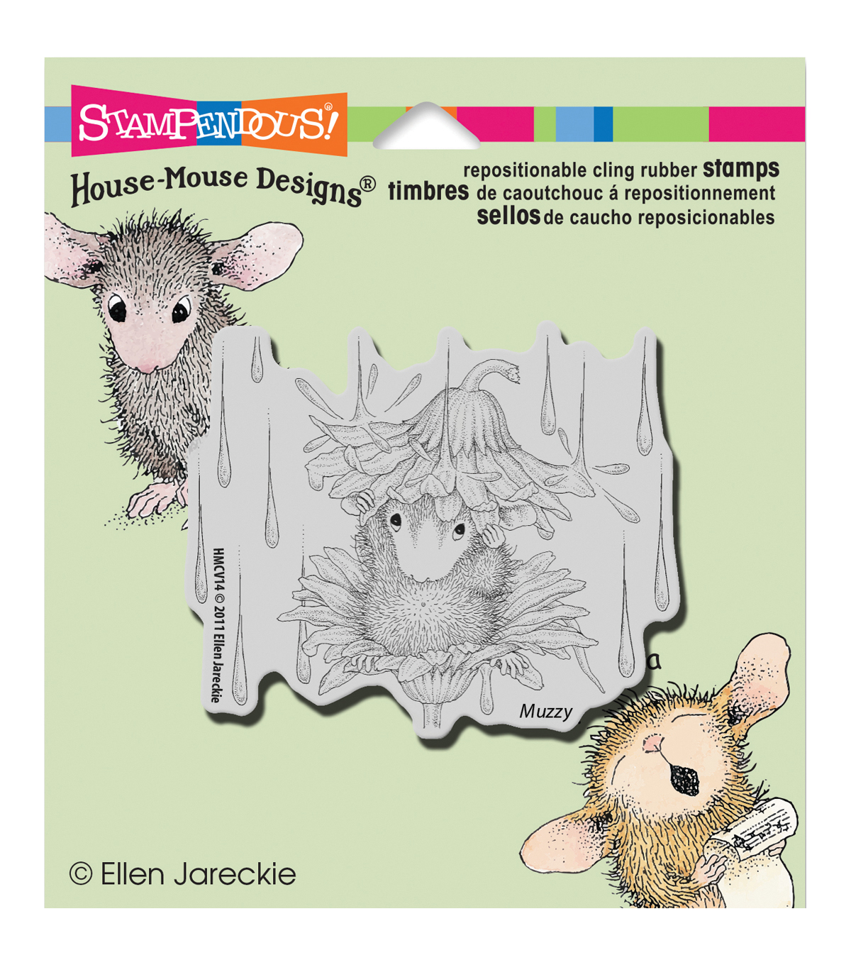 Stampendous House Mouse Cling Rubber Stamp 3.5\u0022X4\u0022 Sheet-Rain Flower