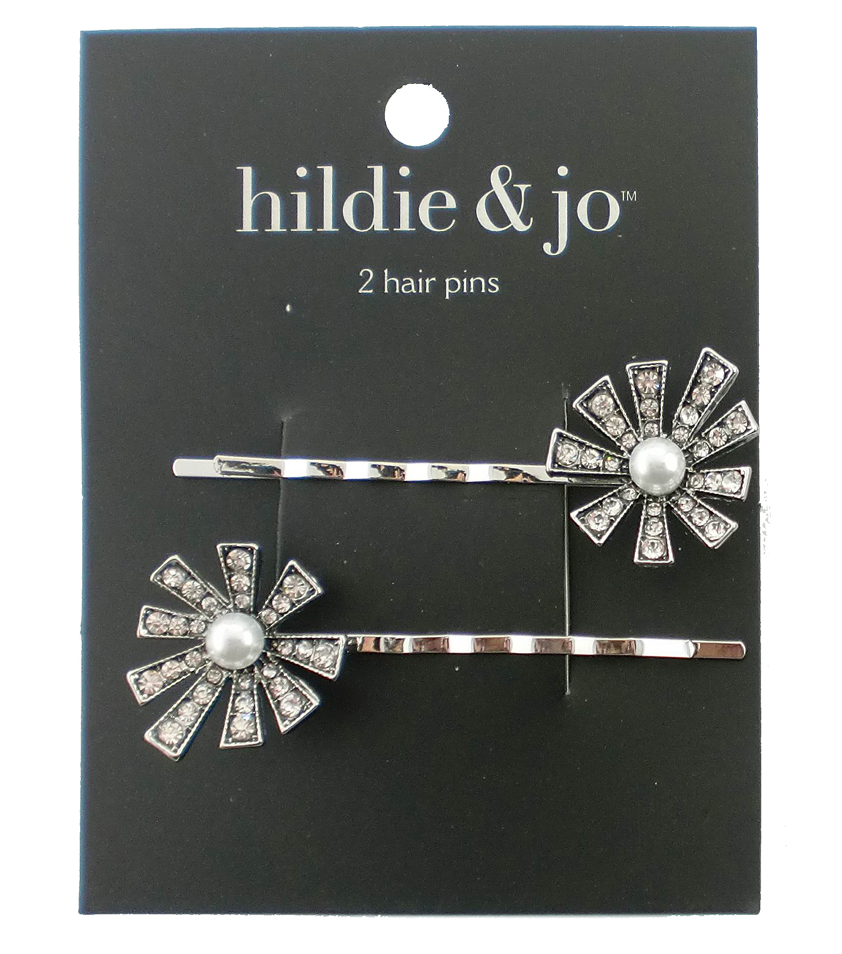 hildie & jo 2 Pack Silver Hair Pins-Pearl & Clear Crystals Flower