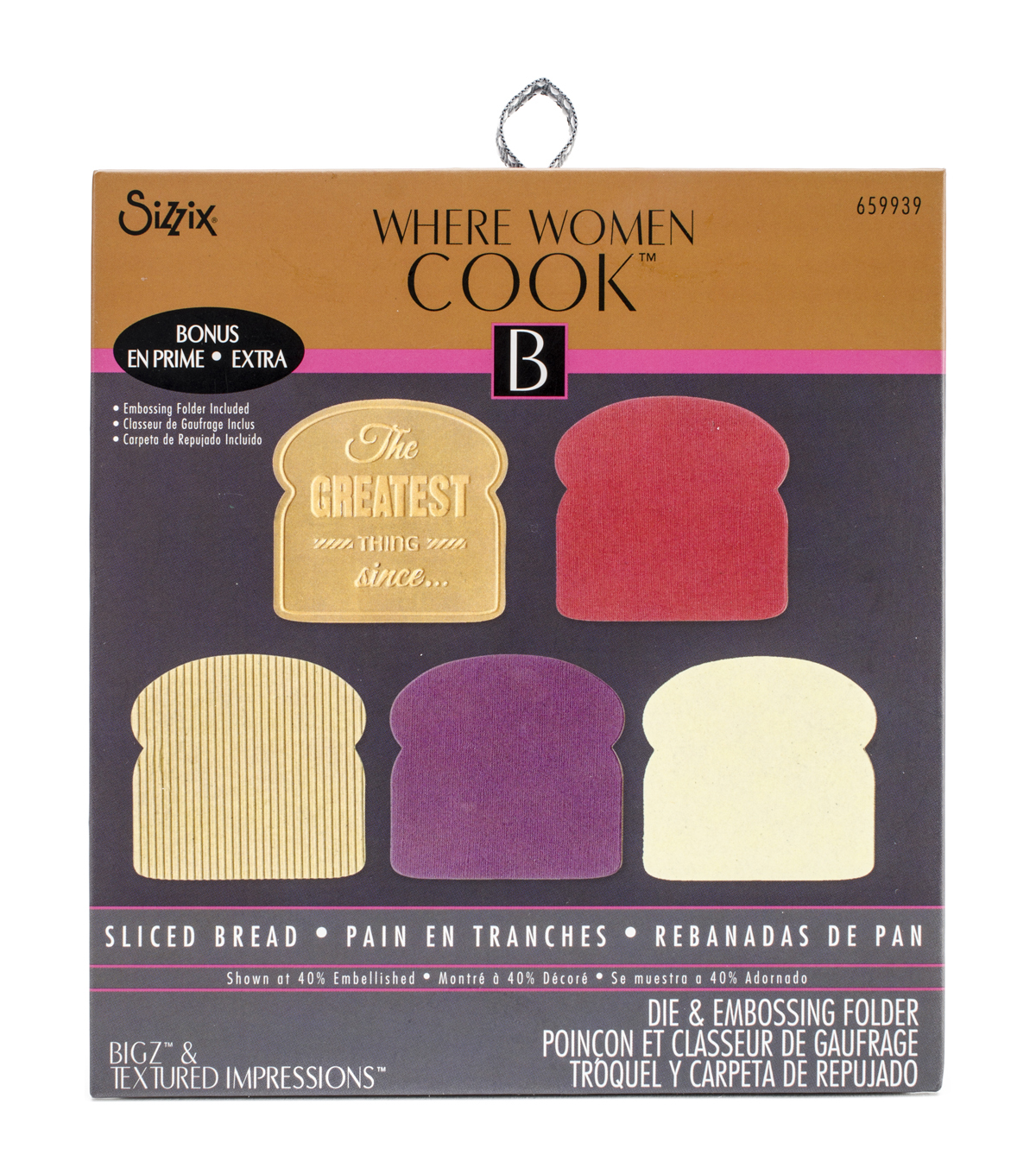 Sizzix Where Women Cook Sliced Bread Bigz Die With Textured Impressions