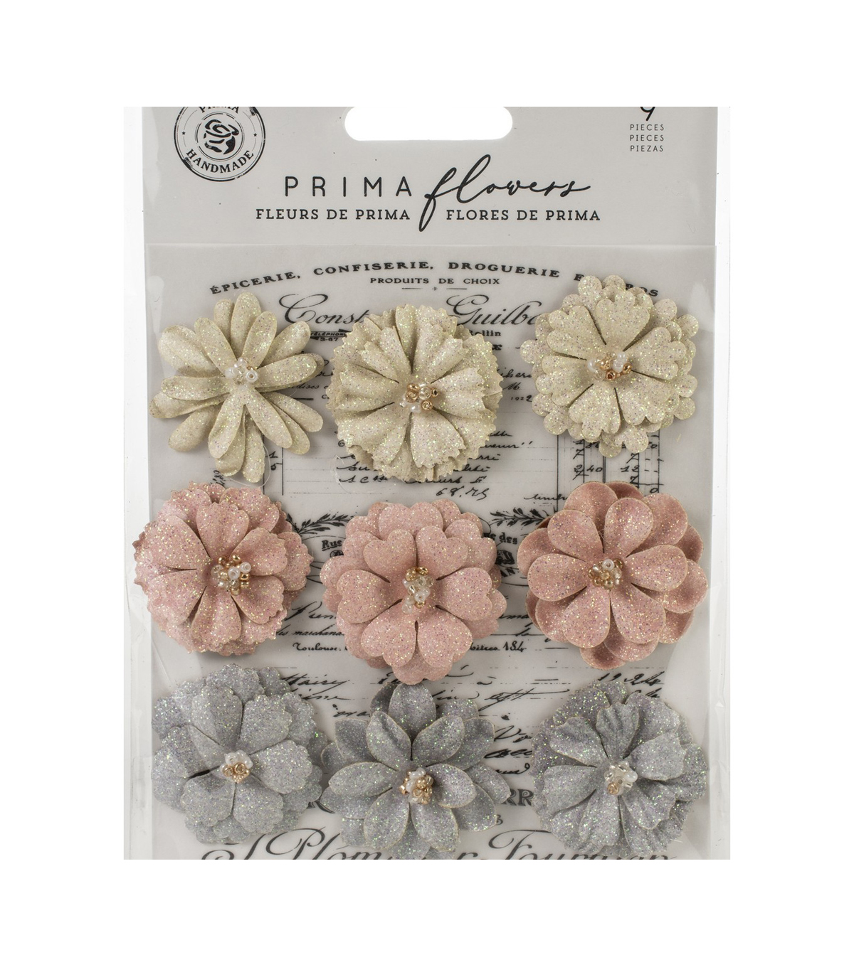 Prima Marketing Spring Farmhouse 9 pk Paper Flowers-Spring Beauties