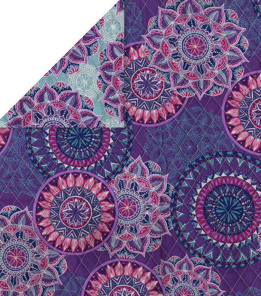Double Faced Quilt Fabric 42\u0027\u0027-Purple Medallions