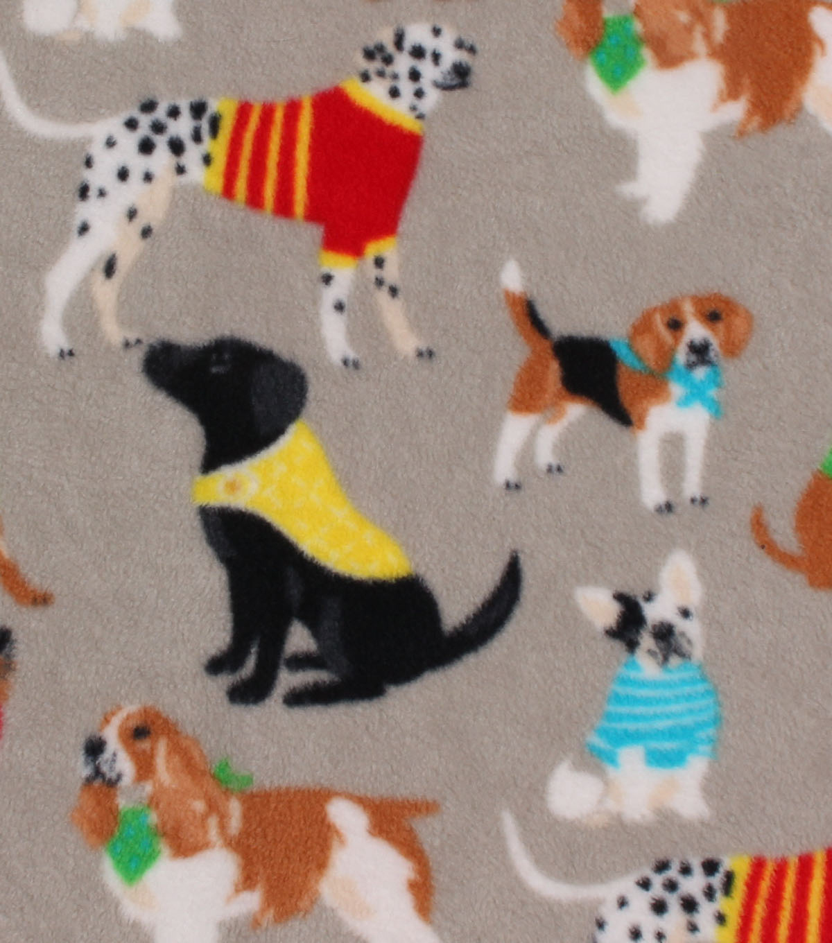 Anti-Pill Fleece Fabric -Dogs with Sweater