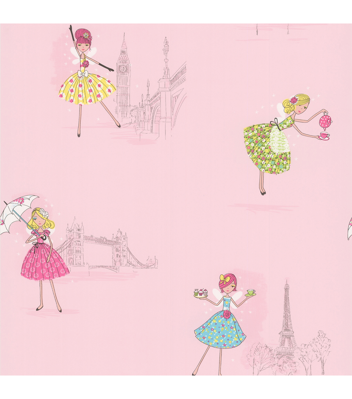 Fairy Tea Time Light Pink European Party Wallpaper Sample