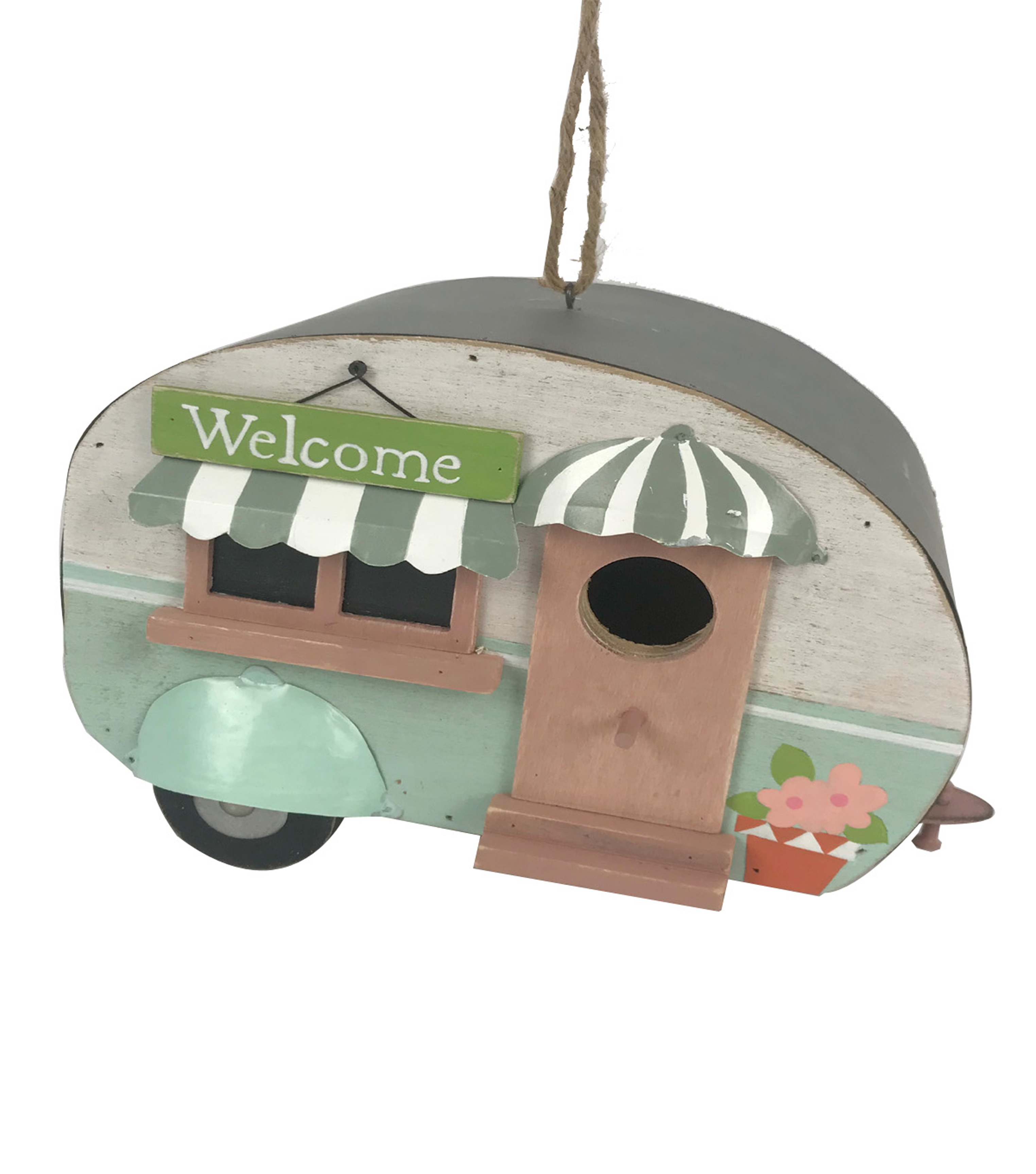 In the Garden Wood Camper Bird House-Welcome Sign