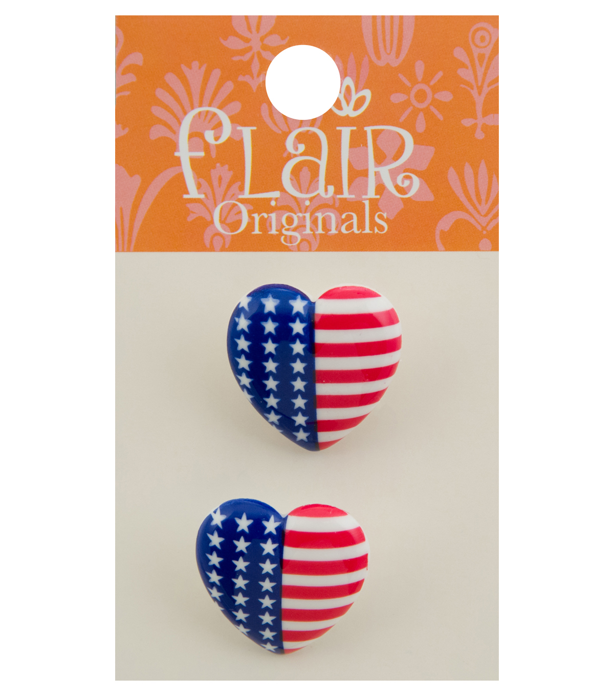 Flair Originals 2 pk 0.88\u0027\u0027 Heart Buttons-American Flag