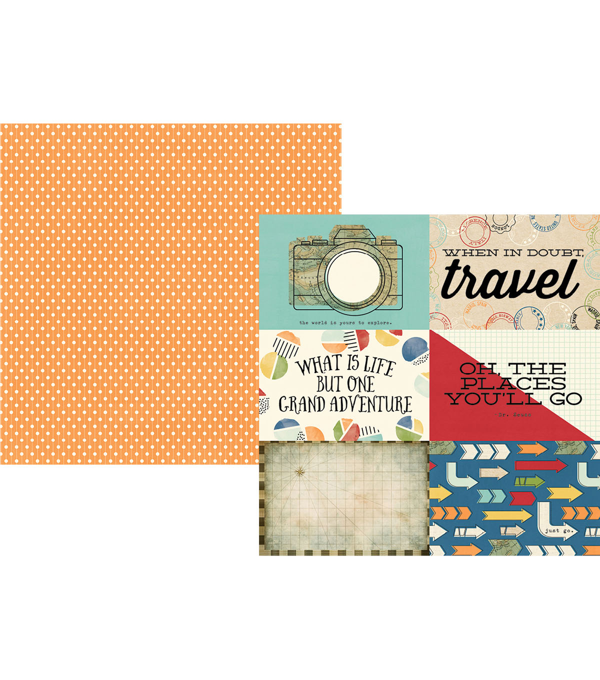 Simple Stories Travel Notes Double-sided Horizontal Elements Cardstock