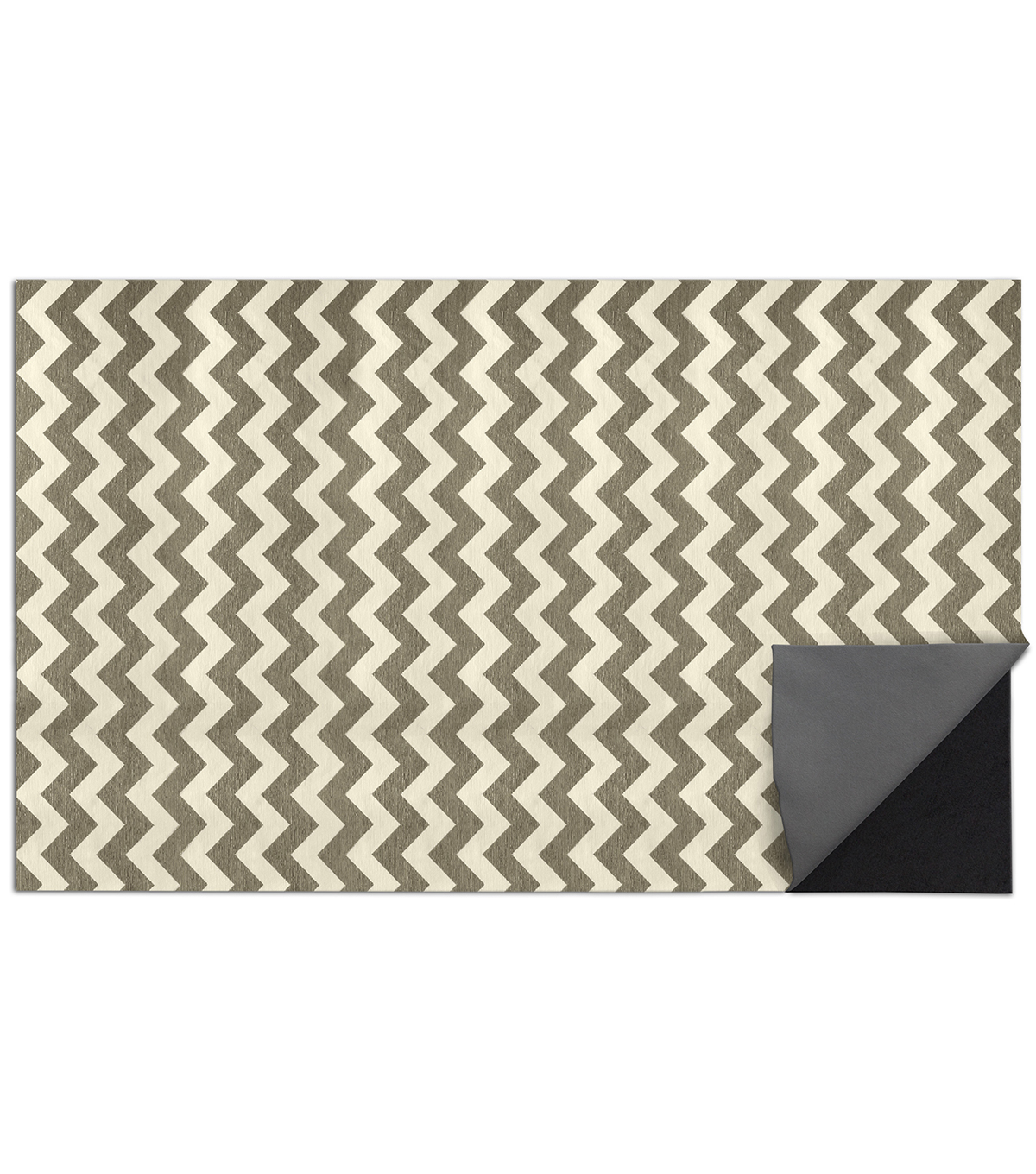 5x7\u0027 Ruggable 2pc Washable Rug System-Chevron Rich Grey  & White