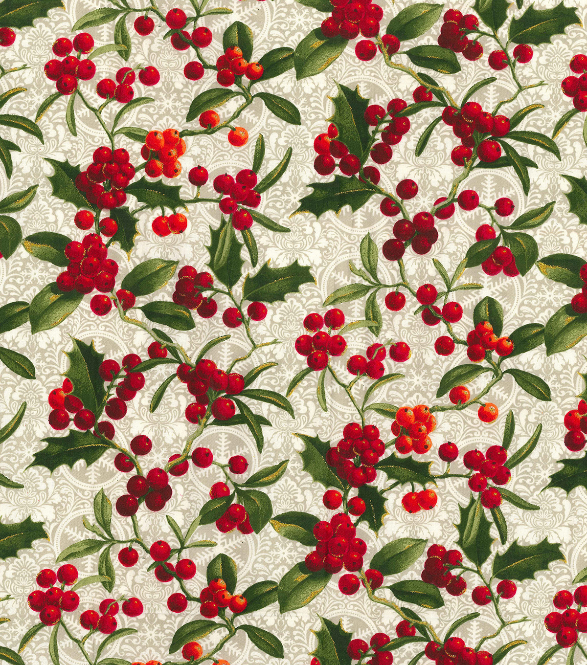 Christmas Cotton Fabric-Glitter Holly Leaves & Berries