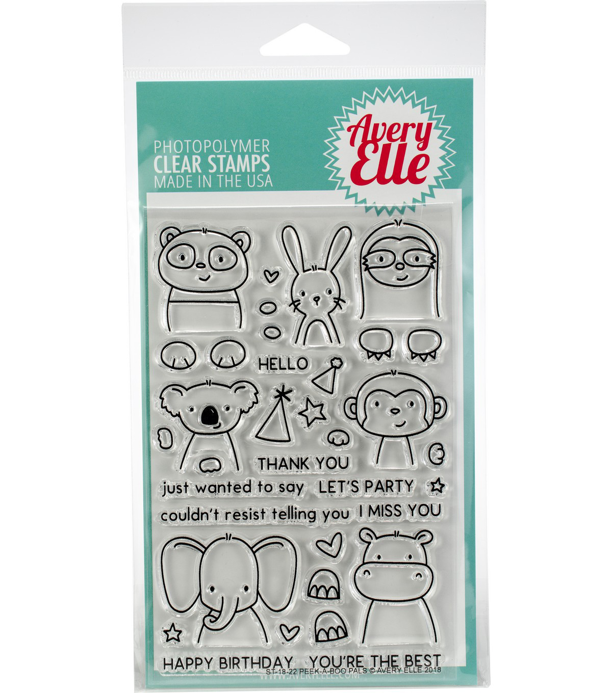 Avery Elle 35 pk Clear Stamps-Peek-A-Boo Pals