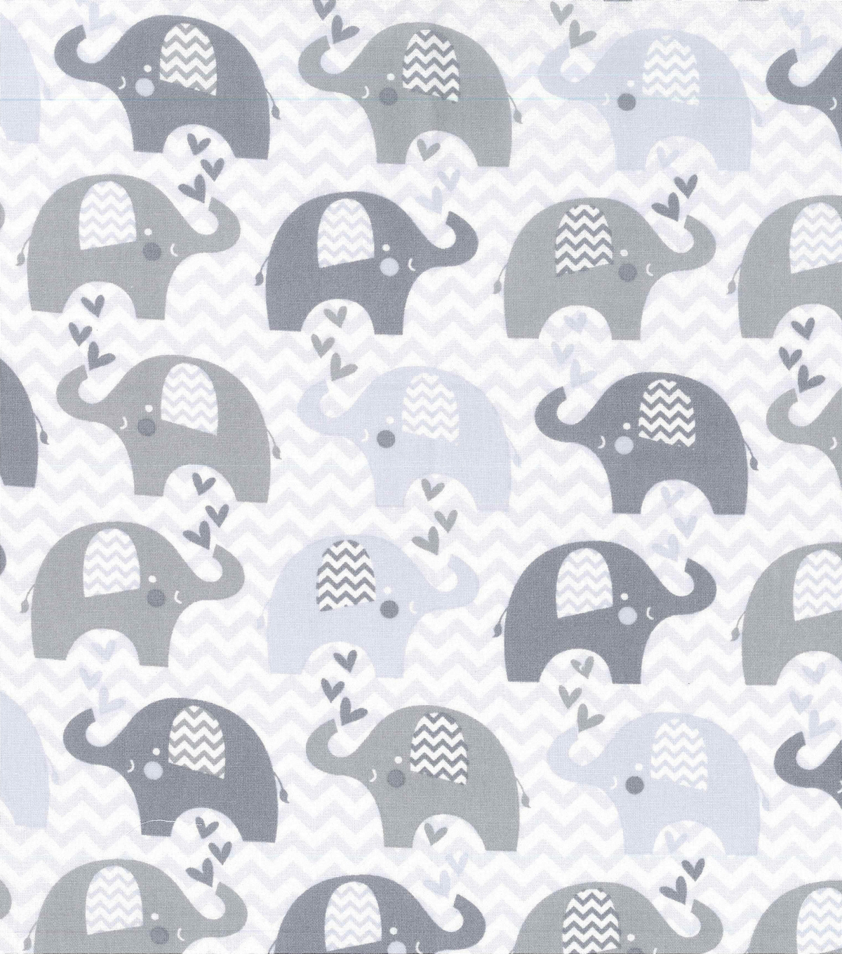 Nursery Cotton Fabric Grey Dream Chevron Elephant
