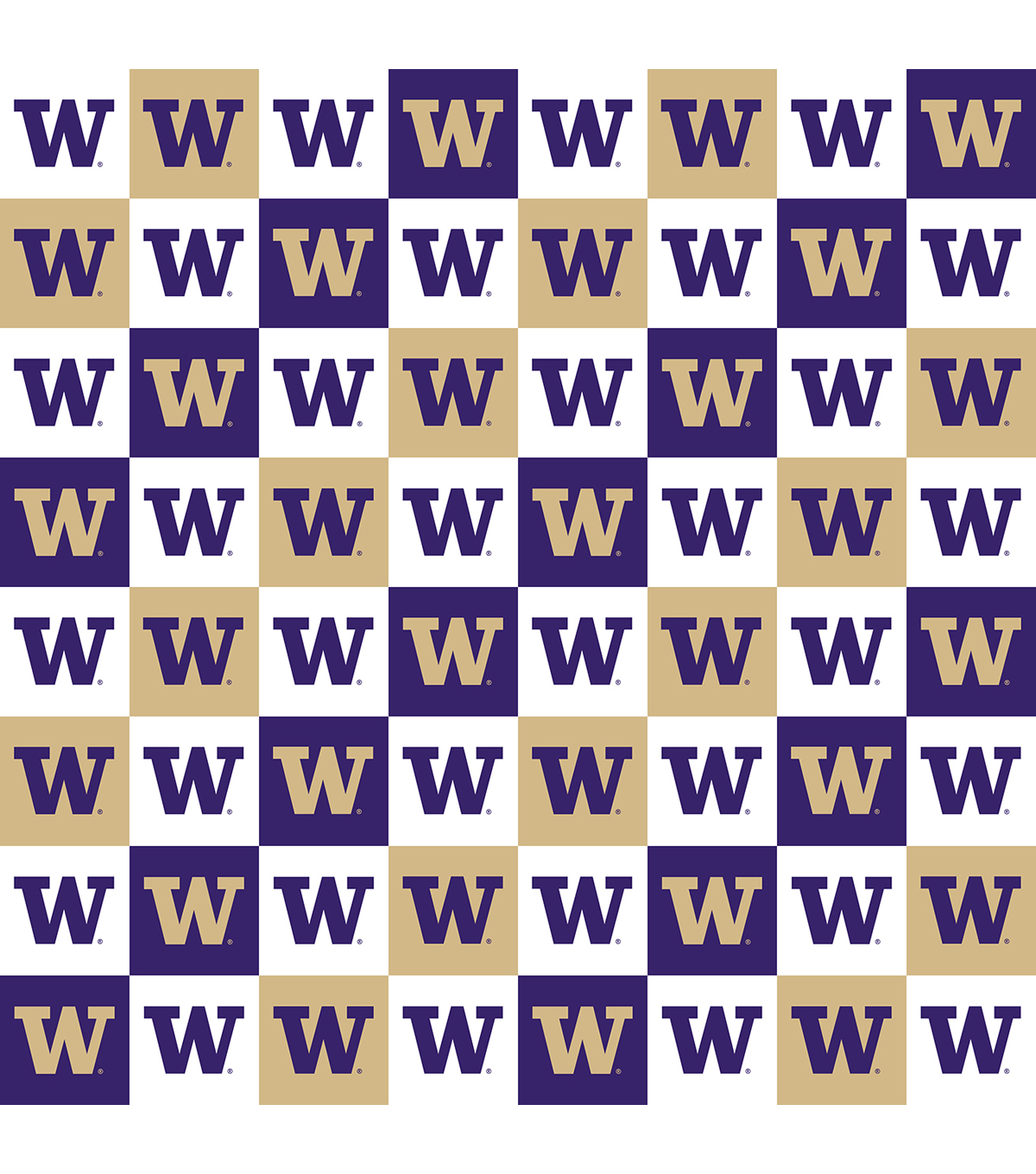 University of Washington Huskies Cotton Fabric-Collegiate Check
