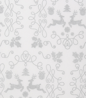 Christmas Cotton Fabric-Deer Scrolls Silver