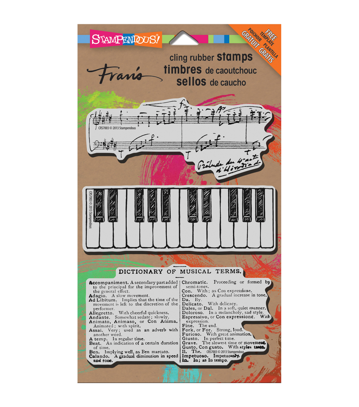 Stampendous Music Motif - Cling Rubber Stamp