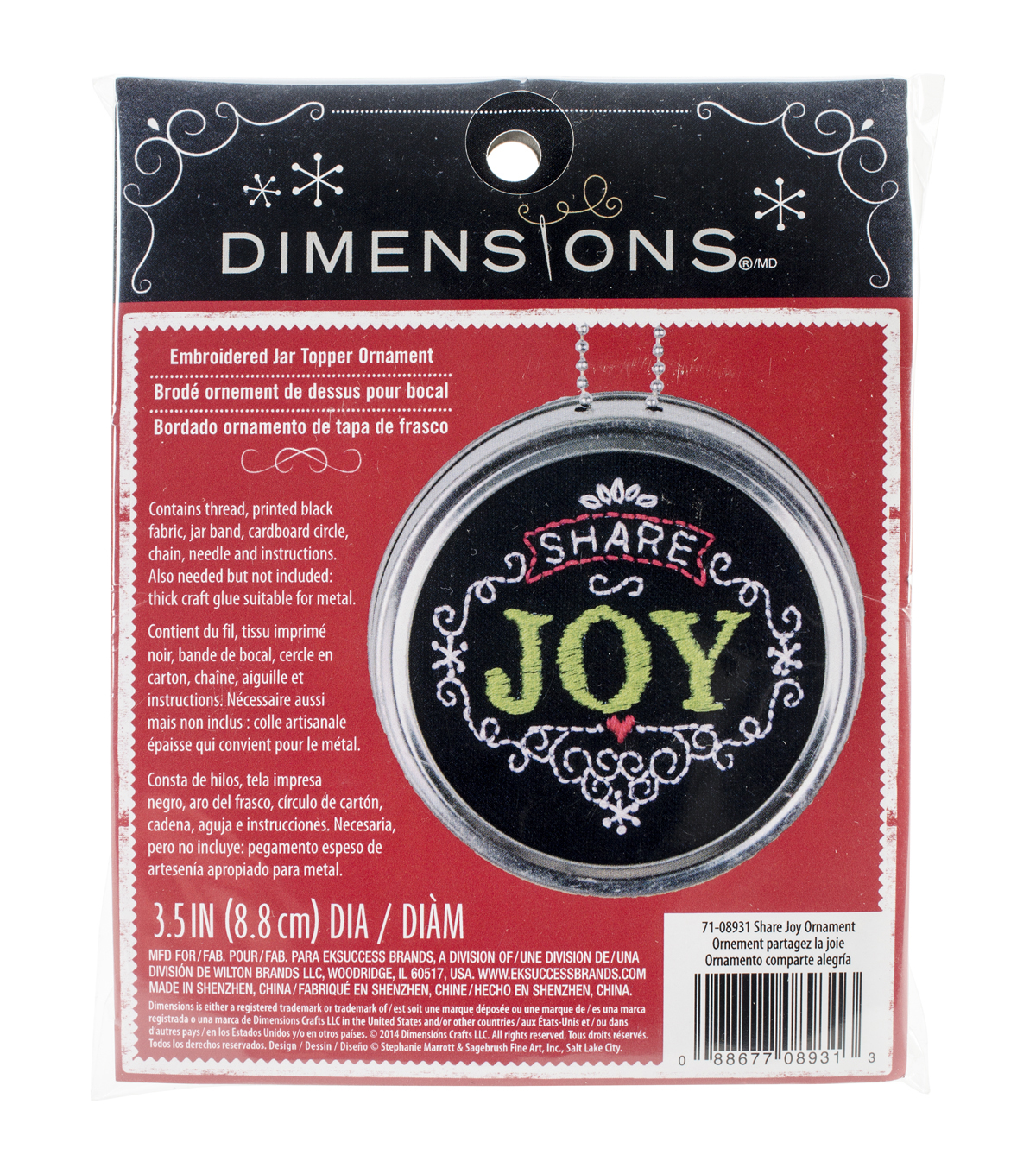 Dimensions Share Joy Ornament Stamped Embroidery Kit