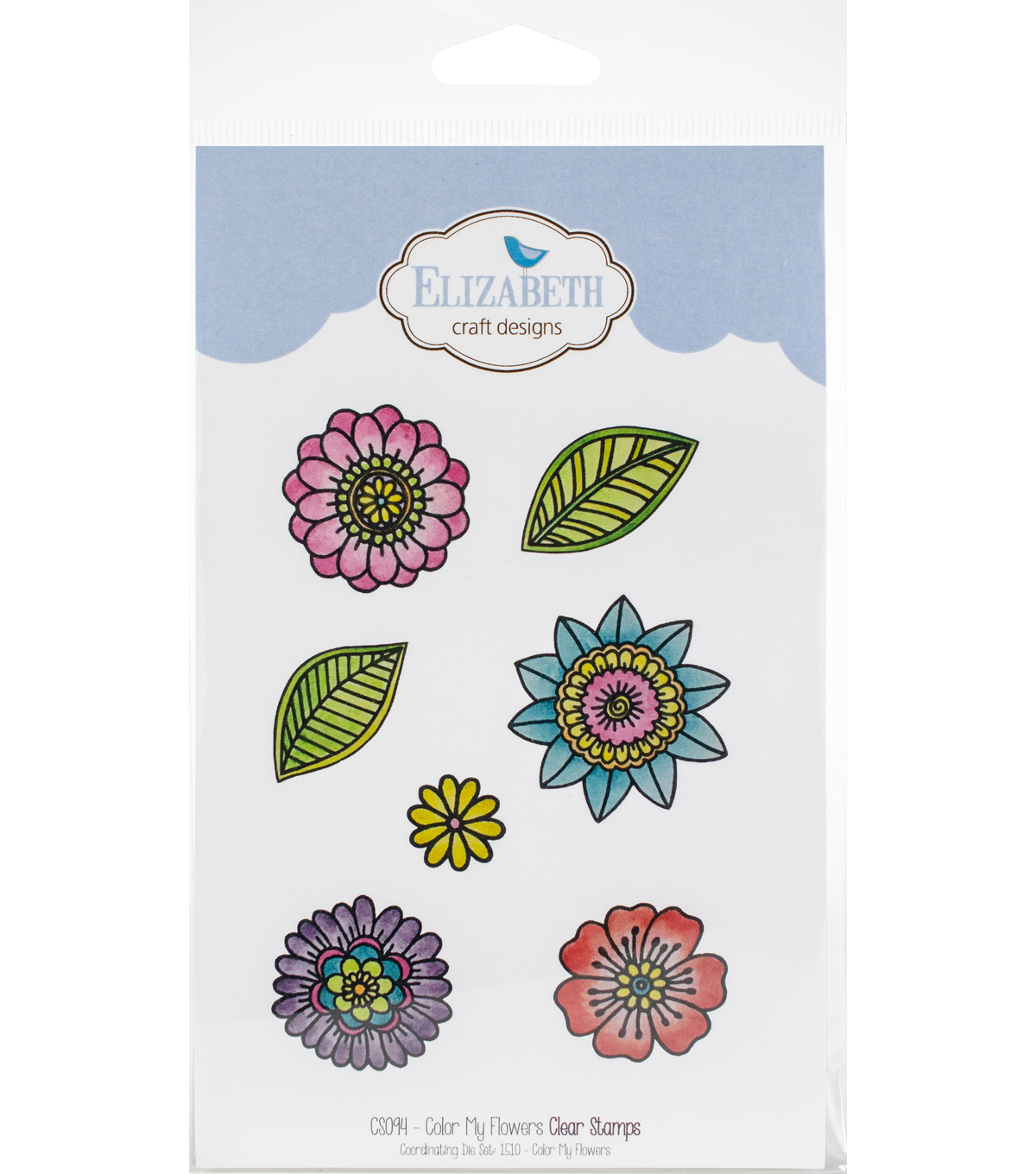 Elizabeth Craft Designs 7 pk Clear Stamps-Color My Flowers