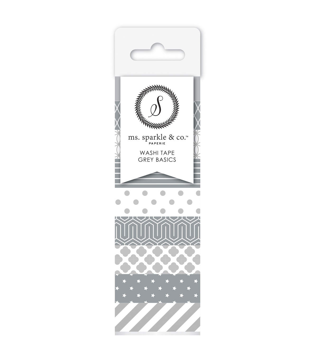 Ms. Sparkle & Co. 8 pk Washi Tapes 0.6 mmx10 yds-Gray Basics