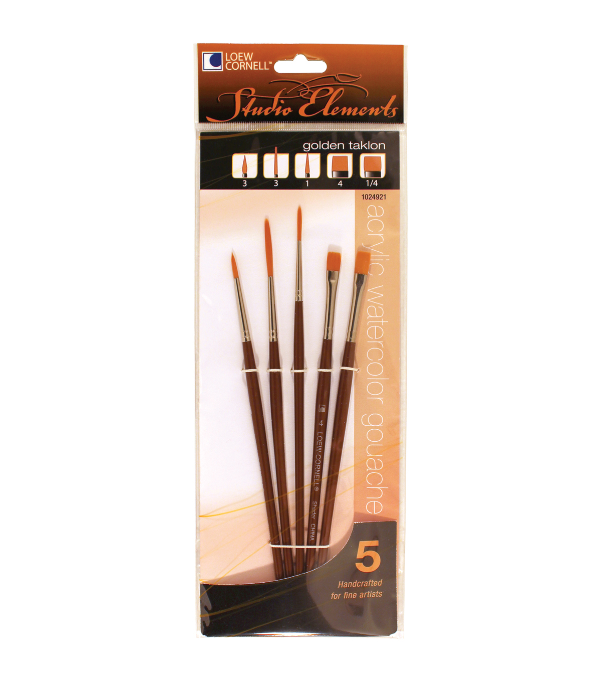 Loew-Cornell Studio Elements Liner Shader Round Golden Taklon Brushes