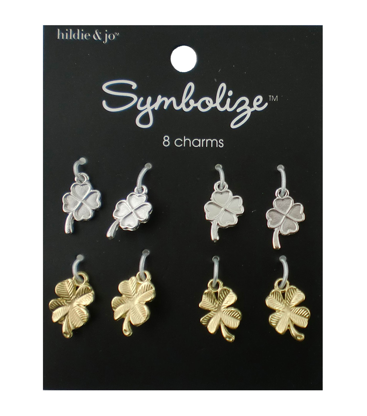 hildie & jo Symbolize 8 Pack Clover Silver & Gold Charms