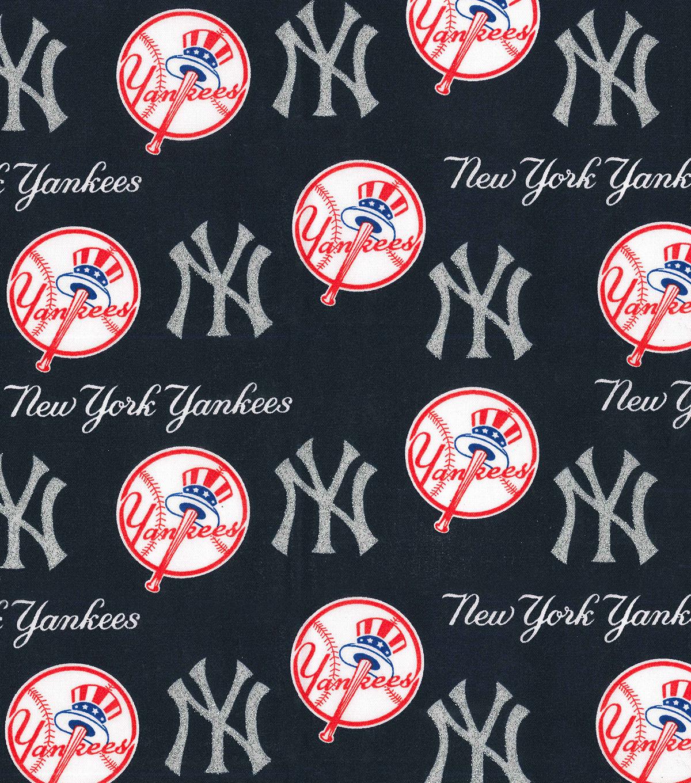 New York Yankees Cotton Fabric Glitter Logos Joann