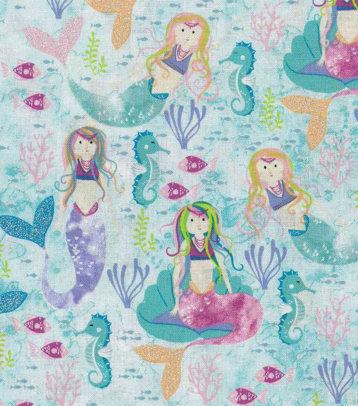 Novelty Cotton Fabric 43\u0027\u0027-Mermaid with Glitter