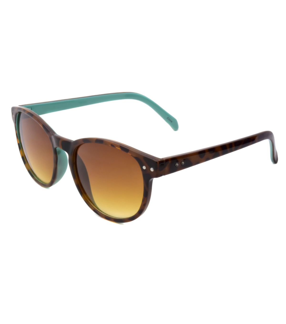 Sunglasses with Round Frame-Brown & Turquoise