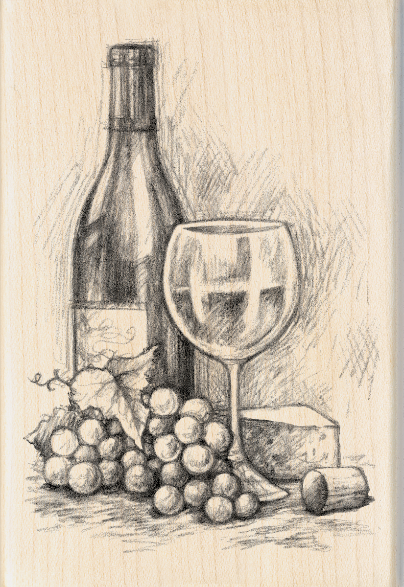 Inkadinkado Mounted Rubber Stamp 4\u0022X2.75\u0022-Wine&Cheese