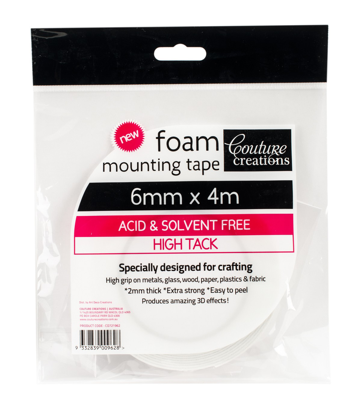 Couture Creations Foam Mounting Tape 6mmX4m-High Tack