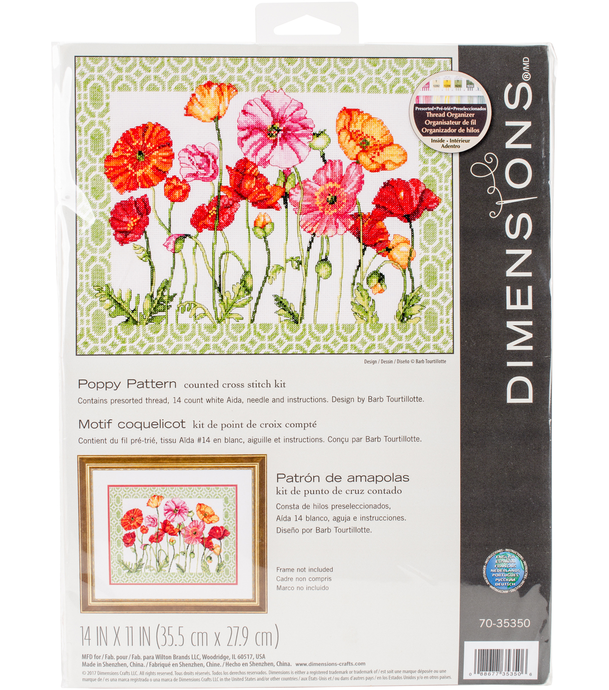 Poppy Pattern Counted Cross Stitch Kit-14\u0022X11\u0022 14 Count