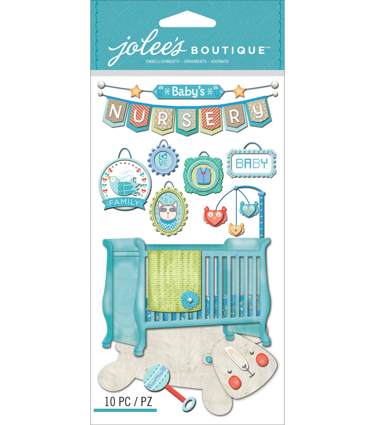 Jolee\u0027s Boutique Dimensional Stickers-Baby Boy - Nursery